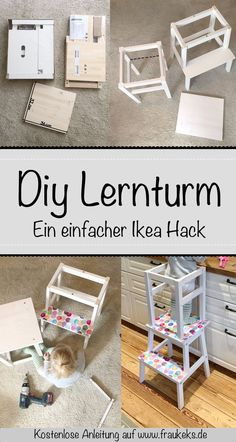 Auf www.de findest du eine einfache Anleitung für einen Lernturm – mit… At www.de you will find a simple guide for a learning tower – with only 2 CHEAP pieces of furniture from Ikea. Are you ready? Ikea Kids, Montessori Ikea, Montessori Science, Learning Tower Ikea, Baby Room Boy, Diy Furniture Cheap, Baby Zimmer, Hacks Diy, Ikea Hacks