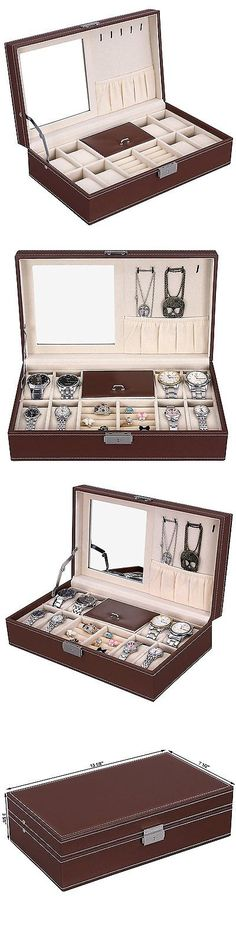 Watch 168164: Brown Mens 8 Watch Box Organizer Black Leather Display Glass Top Jewelry Case -> BUY IT NOW ONLY: $30.18 on eBay!