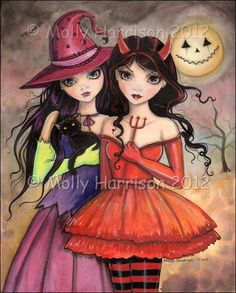Sisters of Halloween - Cute Gothic Halloween Devil and Witch Girl Fine Art Giclee Print by Molly Harrison 8 x 10