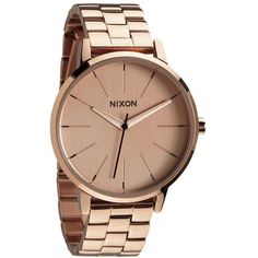 Nixon A099-897 Women's The Kensington Stainless Steel Bracelet Strap... (£80) ❤ liked on Polyvore featuring jewelry, watches, montre, bezel jewelry, leather-strap watches, rose gold jewellery, nixon watches and lock jewelry