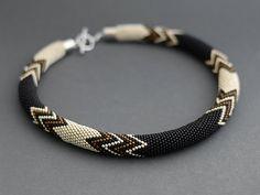 Bead Crochet Necklace Facet by Chudibeads on Etsy