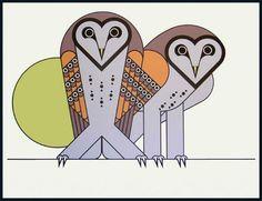 Legendary Illustrator Clifford Richards' 1972 Barn Owls screenprint