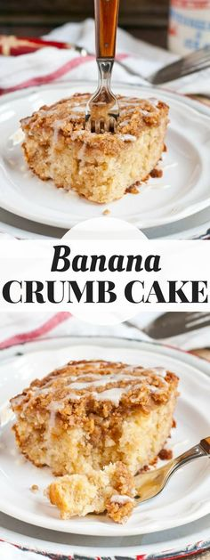 This Banana Crumb Cake is super moist with a layer of crunchy cinnamon crumbs on top. Save this one for a special brunch! #bananacake #crumbcake #breakfastrecipe #bananacrumbcake #brunch