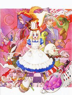 Ilustración de Alicia en el país de las maravillas realizada por el artista Nobuteru Yuuki (Escaflowne, Chrono Cross).