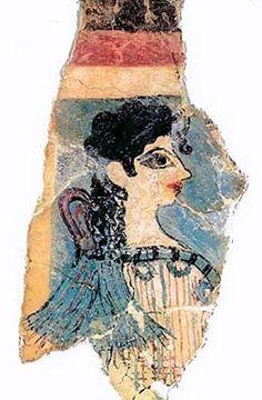 "La Parisian / Priestess Fresco, Minoans on Crete, Middle Bronze Age (1900 - 1600 BC) - called the La Parisian b/c looks French - Minoans followed Egyptians in painting women with white skin and men w/ red skin. Aka - ""camp stool fresco""."