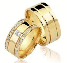 LUXO: Alianças Trieto Plus ♥ Casamento e Noivado em Ouro 18K - Reisman Engagement Rings Couple, Wedding Engagement, Wedding Bands, Bridal Jewelry, Gold Jewelry, Jewelry Rings, Diamond Bracelets, Indian Jewelry, Gold Rings