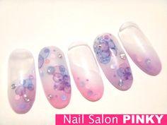 紫陽花カラーグラデの斜めフレンチ★の画像 | PINKY's nailog