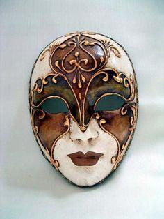 Volto Roma Liberty #3 - Handmade Venetian Masks from Venice, Italy - 1001 Venetian Masks Mens Masquerade Mask, Venetian Carnival Masks, Venetian Masquerade Masks, Porcelain Doll, Fine Porcelain, Ceramic Mask, Venitian Mask, Mask Drawing, Venice Mask