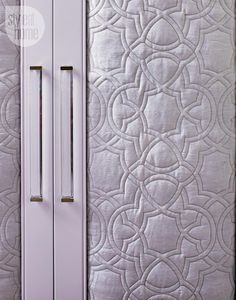 Bedroom decor: Beautifully upholstered closet doors using quilted lilac fabric {PHOTO: Virginia Macdonald}