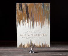 Shine on!! foil on foil wedding invitations by Bella Figura