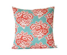 "teal and coral decorative throw pillow cover / 18"" x 18""  / reversible / dorm decor / fall home decor"