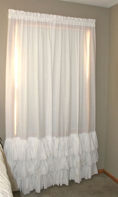 NEW Pottery Barn Inspired  Shabby Chic Farmhouse 3 Ruffle  KAMI Curtain Panel In 100% Cotton  Muslin. $50.00, via Etsy.