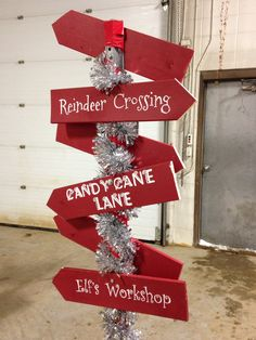 """Christmas crossing sign used for parade float! More """"which way are you going"""" Jesus is the right way! Christmas Float Ideas, Christmas Parade Floats, Candy Land Christmas, Western Christmas, Christmas Party Decorations, Christmas Wood, Christmas Projects, Christmas Themes, Holiday Crafts"""