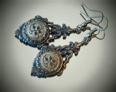 Antique Victorian Lacy Black Glass Luster Picture Button Earrings, Matte Black Tone
