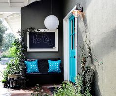 Creative home decorating ideas with black chalkboard paint are a wonderful challenge for your imagination. Black chalkboard paint projects help personalize interior decorating and create unique living Entry Design, Decor, Home, House Exterior, House Design, Front Door, House Colors, Exterior Colors, Eclectic Design