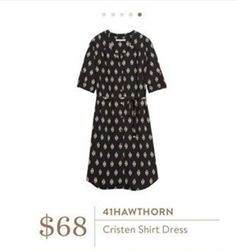 Cute shirt dress, I could see myself wearing this all the time! Cute with flats or boots, layered for fall or not for summer.