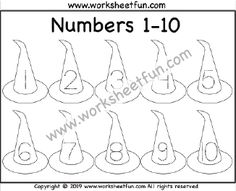 Halloween Themed Worksheet – Witch Hat – Number Tracing – – One Worksheet / FREE Printable Worksheets – Worksheetfun Letter Tracing Worksheets, Printable Preschool Worksheets, Free Kindergarten Worksheets, Tracing Letters, Math Worksheets, Tracing Shapes, Number Tracing, Numbers Preschool, Free Preschool