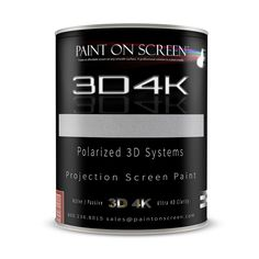 Paint on Screen - 3D4K 3D and 4K Ready Smooth Coating Projector Screen Paint with 3.8 Gain - Quart #Q003D4K