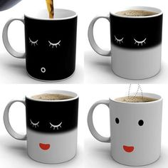 Morning Mug. When cold, mug shows a sleeping face. When hot, mug wakes up!