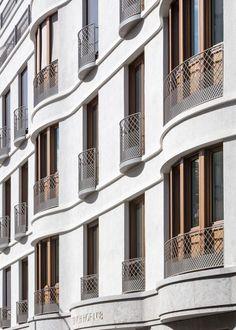 Düsseldorf, Fassaden Detail Kentenich Hof, Ralf Schmitz Immobilien