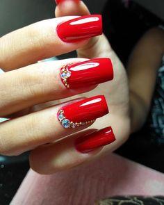 New Nails Art Red Pedicures Ideas Nails Art Red, Red Acrylic Nails, Glitter Nails, Christmas Nail Art Designs, Christmas Nails, Fancy Nails, Pretty Nails, Broken Nails, Trendy Nail Art