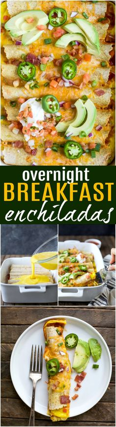 Easy Cheesy Overnight Breakfast Enchiladas filled with bacon, ham, veggies and an egg mixture. Make it the night before and bake in the morning! A delicious savory breakfast recipe perfect for brunch or the holidays! Breakfast Sausage Recipes, Bacon Recipes, Healthy Breakfast Recipes, Easy Healthy Recipes, Savory Breakfast, Drink Recipes, Egg Recipes, Mexican Recipes, Dinner Recipes