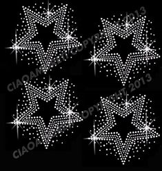 Set of 4  stars clear rhinestone iron on hotfix by loveforbling, $5.99