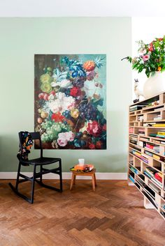 IXXI wall decoration made with Van Os' painting, 'Fruit & flowers in a terracotta vase'. The National Gallery Museum image bank collection. Price in this example is $107.70 (120 x 160 cm) #ixxi #ixxidesign