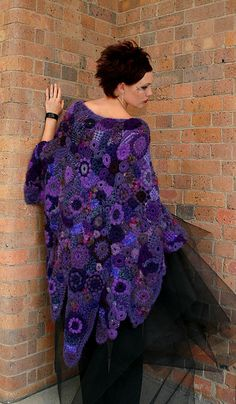 Purple Freeform Shawl -- another amazing freeform project flowing from the hook of Prudence Mapstone (www.knotjustknitt...) ~~ one of the most creative crochet artists I've seen!