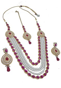 Pink Alloy Austrian Diamond Necklace Set Earrings and Maangtikka 199013 Diamond Necklace Set, White Necklace, Ethnic Jewelry, Indian Jewelry, Jewellery, New Years Sales, Pink Fabric, Color Shades, Indian Ethnic