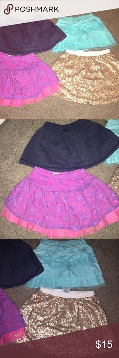 Toddler Girl Skirts  2t and 3t but all about same size the 3t have never been worn 3rd photo gold and blue...really cute and great shape! Bottoms Skirts