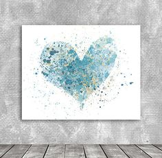 teen room decor Heart Blue Ocean Gift watercolor  by PrintFusion