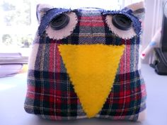 Owl stuffed plaid primitive red recycled upcycled by JulieAnnMade, $18.00