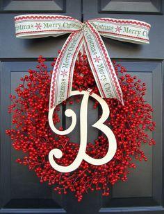 Berry Wreath Etsy Xmas Wreath Monogram Wreath by ElegantWreath