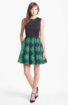 Taylor Dresses Mixed Media Fit & Flare Dress | Nordstrom