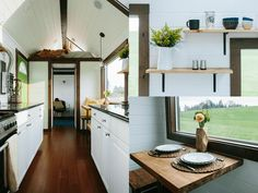 Tiny houses that don't feel so tiny. we use clever storage solutions and layouts maximize space Home Design Plans, Plan Design, Layout Design, Tiny Houses Plans With Loft, Tiny Home Office, Tiny House Storage, Tiny House Bathroom, House With Porch, Tiny House Living