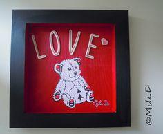 Tableau peinture Bretagne Ourson Amour rouge noir : Peintures par milid
