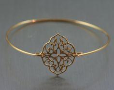 e265e801ff7a Boho estilo brazalete de cobre amarillo de oro     oro pulsera     Kite  Shield