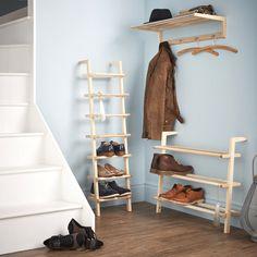 Wooden Ladder Shoe Rack - Wide - Shoe Racks   Shoe Storage Shelves   Boot Racks   Welly Stands
