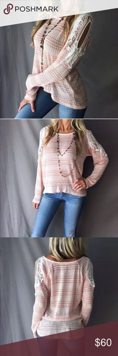 ✨Just in! Boho Butterfly Crochet Cold Shoulder Just in!Boho Butterfly Crocheted Cold Shoulder Lightweight KnitColor is Peachy/Pink + Cream One Available in Small and Medium Relaxed fit, so may accommodate a size largerUntagged/New in Package Boutique itemI do consider KIND offers, but on boutique items, your best bet is to bundle 2+ items for 15% off or more Sweaters Crew & Scoop Necks