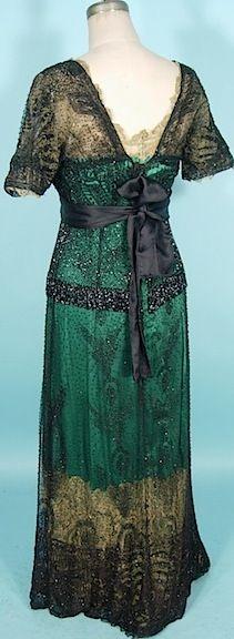 "1911/1912 Exquisite Black Jet Beaded ""Titanic"" Edwardian Gown"