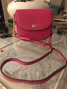 282764606c Details about Michael Kors Half Dome WHIPSTITCHED Black Leather Small  Crossbody Bag