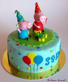 """Be brown, be sweet: Tarta """"Peppa Pig fiesta de cumpleaños"""""""