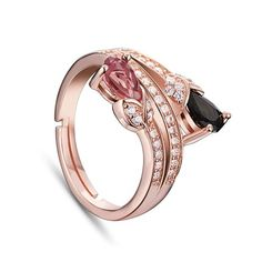 Trendy Natural Tourmalines 925 Sterling Silver Finger Ring, with Micro Pave AAA Zircon Tulips, Rose Gold; Size:about 18mm inner diameter(Adjustable), 11mm wide; The COLOR of Tourmalines is RANDOM.<br/