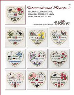 Victoria Sampler International Hearts 2 - Cross Stitch Pattern. USA, Mexico, Italy, France, Germany, Greece, Hungary, Japan, China, and Korea. All models stitch
