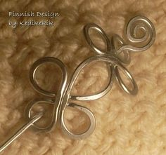 Small HAMMERED CELTIC BROOCH, Hair Pin or Shawl Pin For Scarf made with Aluminum Wire - Very light to wear -