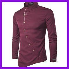 Men Shirt 2017 Spring Personality Oblique Button Irregular Men Casual Shirt  New Arrival Long Sleeve Casual a3bd7fea915