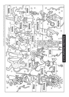 Kleurplaat kern 8 met opdracht - Veilig leren lezen   Udocstore.nl Spelling, Homeschool, Letters, Teaching, Logo, Carnival, School, Index Cards, Logos