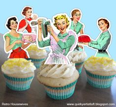 Retro Housewife  Printable Cupcake Toppers by TheQuirkyArtistLoft