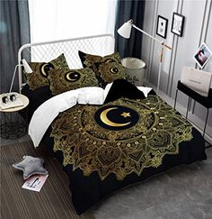 Black Gold Bedroom Moon Stars Personality Bedding Series Three and Four Pieces - BLACK GOLD KING - Fashion Clothing Site with greatest number of Latest casual style Dresses as well as other categories such as men, kids, swimwear at a affordable price. Gold Rooms, Gold Bedroom, Master Bedroom, Cheap Bedding Sets, Bedding Sets Online, Queen Sheets, Bed Sheets, Luxury Bedding Collections, King Comforter Sets